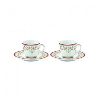 Zestaw 2 filiżanek espresso z talerzykami