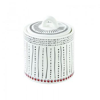 Porcelanowy pojemnik z pokrywą na przyprawy